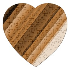 Metallic Brown/neige Stripes Jigsaw Puzzle (heart) by timelessartoncanvas