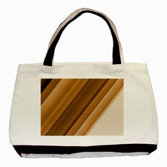 Metallic Brown/neige Stripes Basic Tote Bag (two Sides) by timelessartoncanvas