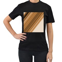 Metallic Brown/neige Stripes Women s T Shirt (black) by timelessartoncanvas