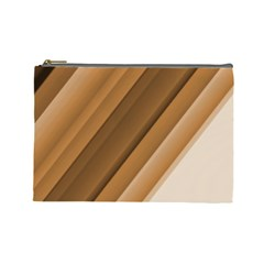 Metallic Brown/neige Stripes Cosmetic Bag (large)  by timelessartoncanvas