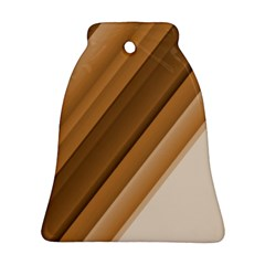 Metallic Brown/neige Stripes Ornament (bell)  by timelessartoncanvas