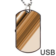 Metallic Brown/neige Stripes Dog Tag Usb Flash (two Sides)  by timelessartoncanvas