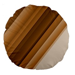 Metallic Brown/neige Stripes Large 18  Premium Round Cushions by timelessartoncanvas