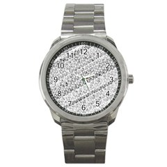 Silver Abstract And Stripes Sport Metal Watches by timelessartoncanvas