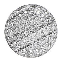 Silver Abstract And Stripes Ornament (round Filigree)  by timelessartoncanvas