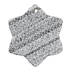 Silver Abstract And Stripes Ornament (snowflake)  by timelessartoncanvas