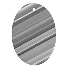 Elegant Silver Metallic Stripe Design Ornament (oval)  by timelessartoncanvas
