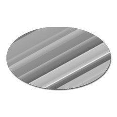 Elegant Silver Metallic Stripe Design Oval Magnet by timelessartoncanvas