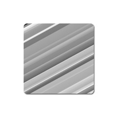 Elegant Silver Metallic Stripe Design Square Magnet by timelessartoncanvas