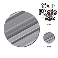 Elegant Silver Metallic Stripe Design Multi Purpose Cards (round)  by timelessartoncanvas