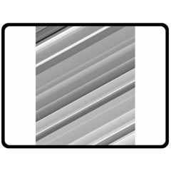 Elegant Silver Metallic Stripe Design Fleece Blanket (large)  by timelessartoncanvas