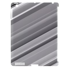 Elegant Silver Metallic Stripe Design Apple Ipad 3/4 Hardshell Case (compatible With Smart Cover) by timelessartoncanvas
