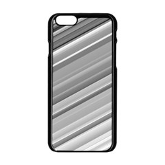 Elegant Silver Metallic Stripe Design Apple Iphone 6/6s Black Enamel Case by timelessartoncanvas