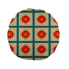 Shapes In Squares Pattern 	standard 15  Premium Flano Round Cushion by LalyLauraFLM