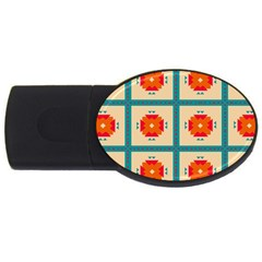 Shapes In Squares Pattern usb Flash Drive Oval (2 Gb) by LalyLauraFLM