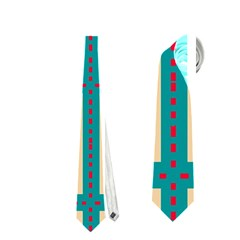Shapes In Squares Pattern Necktie by LalyLauraFLM