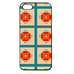 Shapes In Squares Pattern 			apple Iphone 5 Seamless Case (black) by LalyLauraFLM