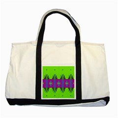 Tribal Shapes On A Green Background 			two Tone Tote Bag by LalyLauraFLM