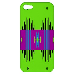 Tribal Shapes On A Green Background apple Iphone 5 Hardshell Case by LalyLauraFLM