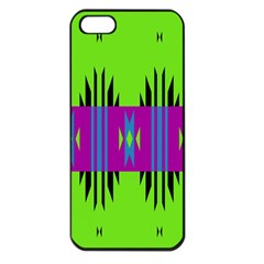Tribal Shapes On A Green Background 			apple Iphone 5 Seamless Case (black) by LalyLauraFLM