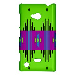 Tribal Shapes On A Green Background 			nokia Lumia 720 Hardshell Case by LalyLauraFLM