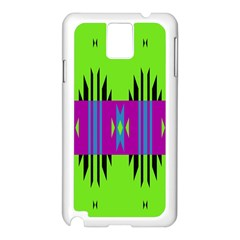 Tribal Shapes On A Green Background 			samsung Galaxy Note 3 N9005 Case (white) by LalyLauraFLM