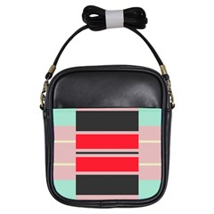 Rectangles In Retro Colors  			girls Sling Bag