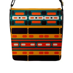 Rectangles In Retro Colors Texture 			flap Closure Messenger Bag (l) by LalyLauraFLM