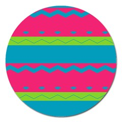 Chevrons And Stripes  			magnet 5  (round) by LalyLauraFLM
