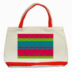 Chevrons And Stripes  classic Tote Bag (red) by LalyLauraFLM