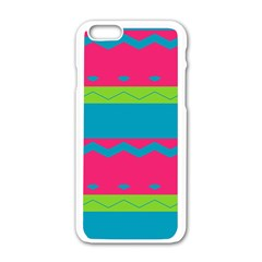 Chevrons And Stripes  			apple Iphone 6/6s White Enamel Case by LalyLauraFLM