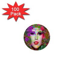 Flowers In Your Hair 1  Mini Buttons (100 Pack)  by icarusismartdesigns