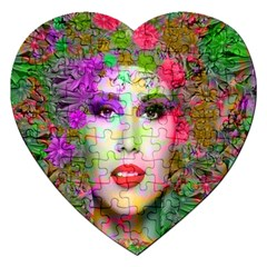 Flowers In Your Hair Jigsaw Puzzle (heart) by icarusismartdesigns