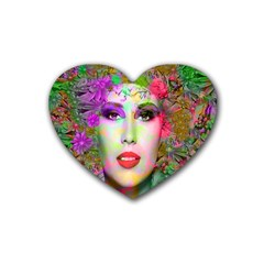 Flowers In Your Hair Rubber Coaster (heart)  by icarusismartdesigns