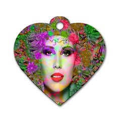 Flowers In Your Hair Dog Tag Heart (one Side)
