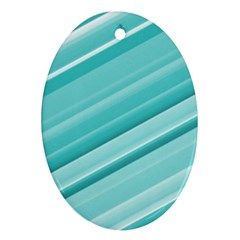 Teal And White Fun Ornament (oval)  by timelessartoncanvas
