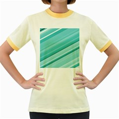 Teal and White Fun Women s Fitted Ringer T-Shirts by timelessartoncanvas