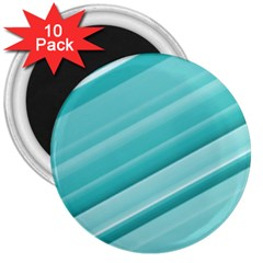 Teal And White Fun 3  Magnets (10 Pack)  by timelessartoncanvas