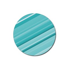 Teal And White Fun Rubber Coaster (round)  by timelessartoncanvas