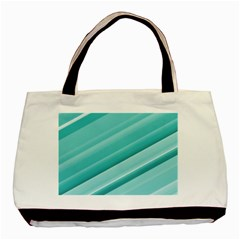 Teal And White Fun Basic Tote Bag by timelessartoncanvas