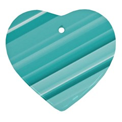 Teal And White Fun Heart Ornament (2 Sides) by timelessartoncanvas