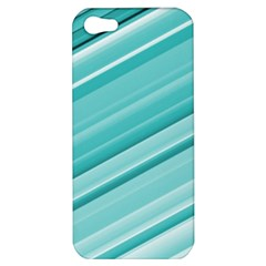 Teal And White Fun Apple Iphone 5 Hardshell Case by timelessartoncanvas