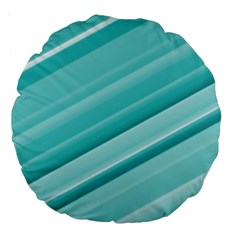 Teal And White Fun Large 18  Premium Flano Round Cushions by timelessartoncanvas
