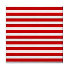 Red And White Stripes Tile Coasters by timelessartoncanvas