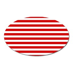 Red And White Stripes Oval Magnet by timelessartoncanvas