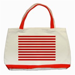 Red And White Stripes Classic Tote Bag (red) by timelessartoncanvas