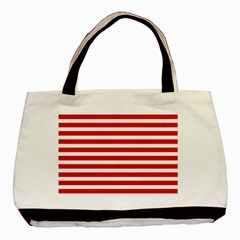 Red And White Stripes Basic Tote Bag (two Sides) by timelessartoncanvas