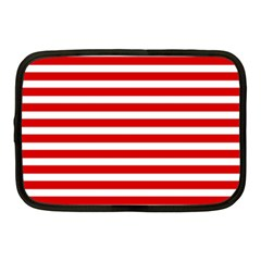 Red And White Stripes Netbook Case (medium)  by timelessartoncanvas