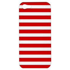 Red And White Stripes Apple Iphone 5 Hardshell Case by timelessartoncanvas