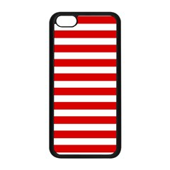 Red And White Stripes Apple Iphone 5c Seamless Case (black) by timelessartoncanvas